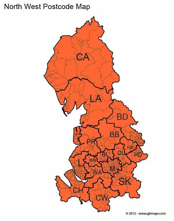 North-West-Postcode-Map